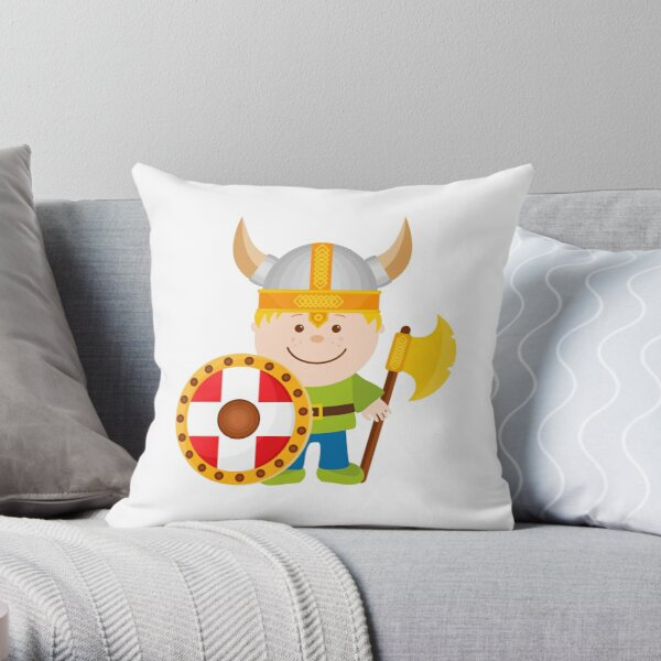 Little Viking Illustration Throw Pillow