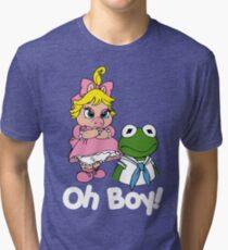 Muppet Babies - Kermit & Miss Piggy - Oh Boy - White Font Tri-blend T-Shirt
