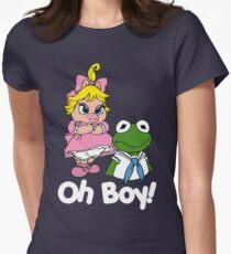 Muppet Babies - Kermit & Miss Piggy - Oh Boy - White Font Women's Fitted T-Shirt