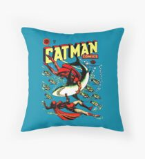Vintage Catman Comic Book Cover no. 32  Throw Pillow