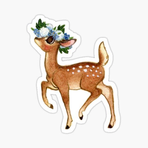 Flower Deer Fawn Sticker