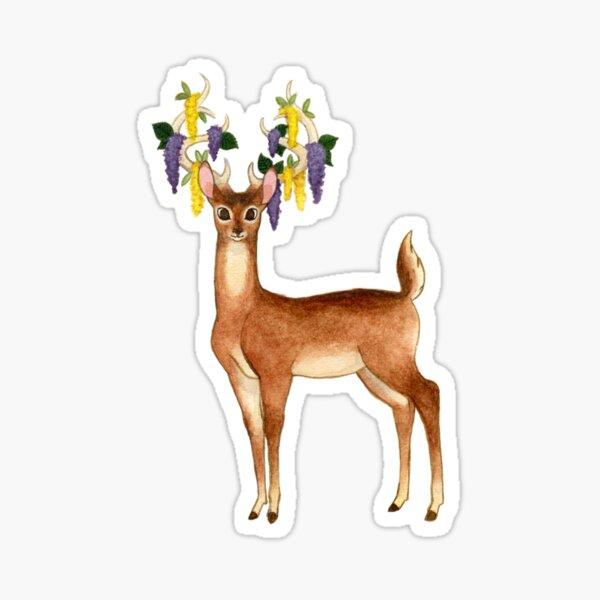 Flower Deer Buck Sticker