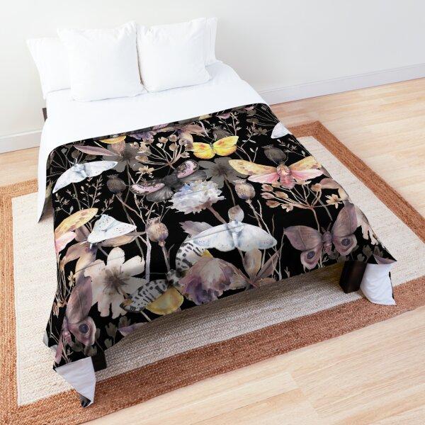 Beautiful Moths floral watercolor pattern on black Comforter