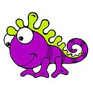 Cute Silly Cartoon Green And Purple Chameleon Lizard Character by doonidesigns