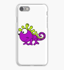 Cute Silly Cartoon Green And Purple Chameleon Lizard Character iPhone Case/Skin