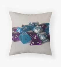 Silver Blue Purple Dice Throw Pillow