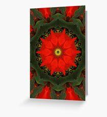 Red Poinsettia Mandala Greeting Card