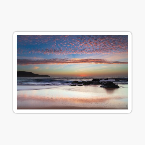 Beautiful seascape with rocks and high cloud Sticker