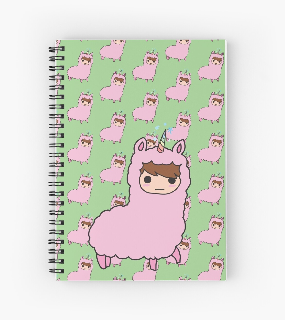 Danisnotonfire In Llama Costume Green Spiral Notebooks By Lucy Lier