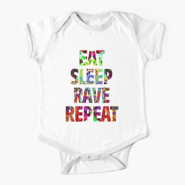 Eat Sleep Rave Repeat Short Sleeve Baby One-Piece