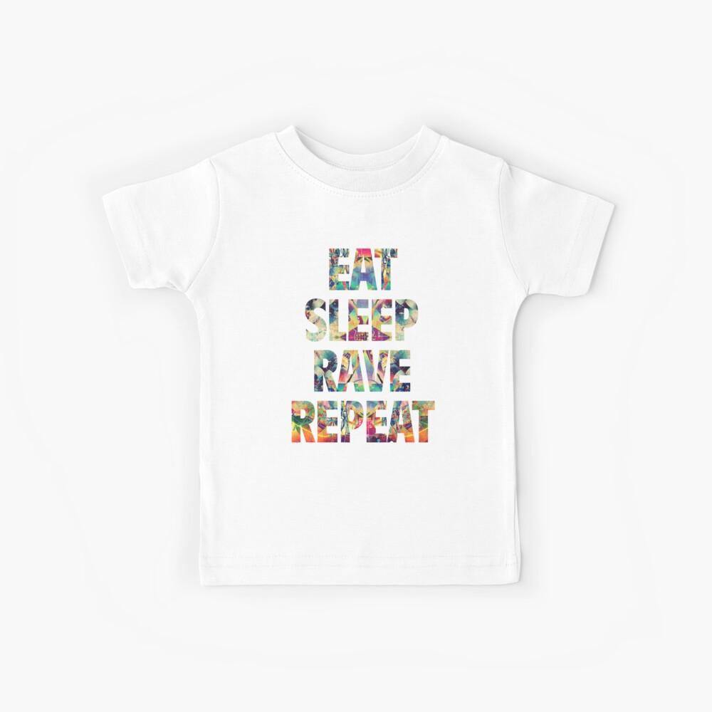 Eat Sleep Rave Repeat Camiseta para niños