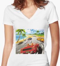 California OutRun SEGA utopian heaven arcade racer Women's Fitted V-Neck T-Shirt