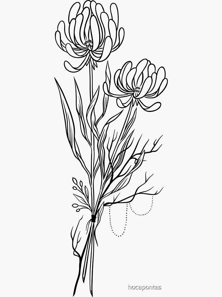 Blumen Lineart Tattoo Style // Schwarz und Weiß von hocapontas