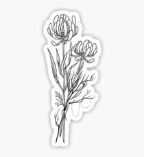Blumen Lineart Tattoo Style // Schwarz und Weiß Sticker