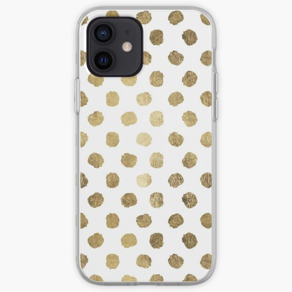 Luxurious faux gold leaf polka dots brushstrokes iPhone Soft Case