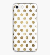 Luxurious faux gold leaf polka dots brushstrokes iPhone Case/Skin