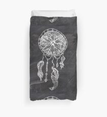 Ethnic handdrawn dreamcatcher black chalkboard Duvet Cover