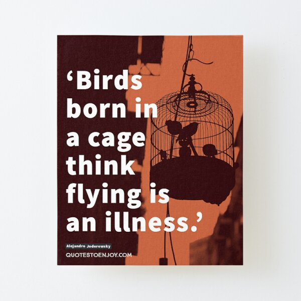 Birds born in a cage think flying is an illness. - Alejandro Jodorowsky Canvas Mounted Print