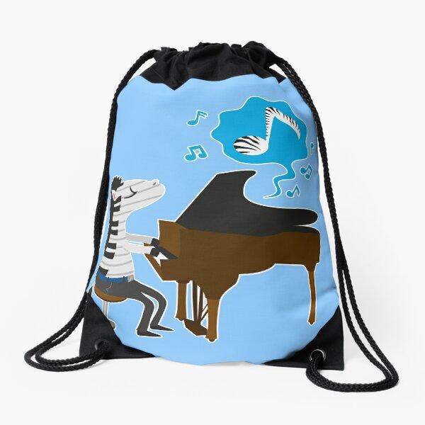 zebra & piano Drawstring Bag