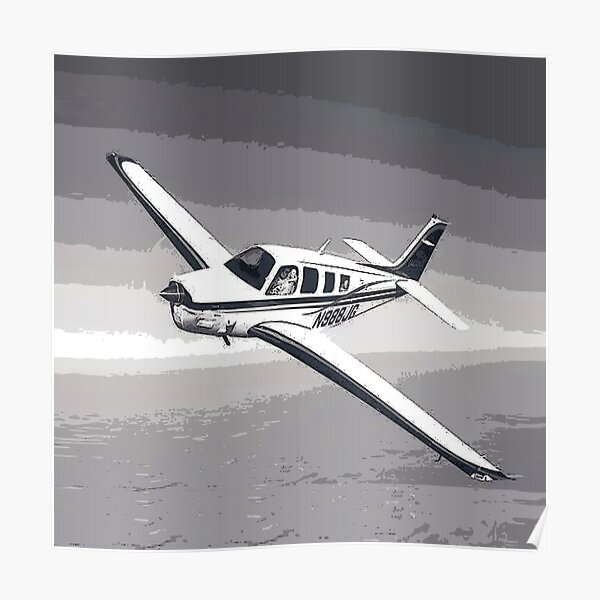 Vintage Beechcraft Bonanza Digital Art Poster