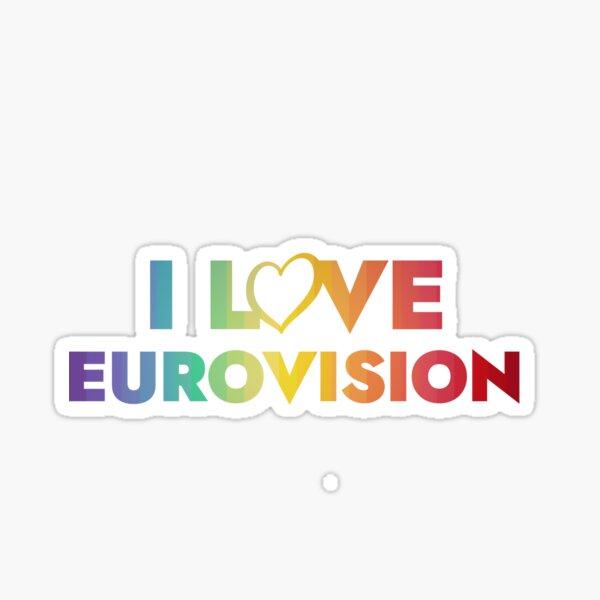I love Eurovision - rainbow pattern Sticker