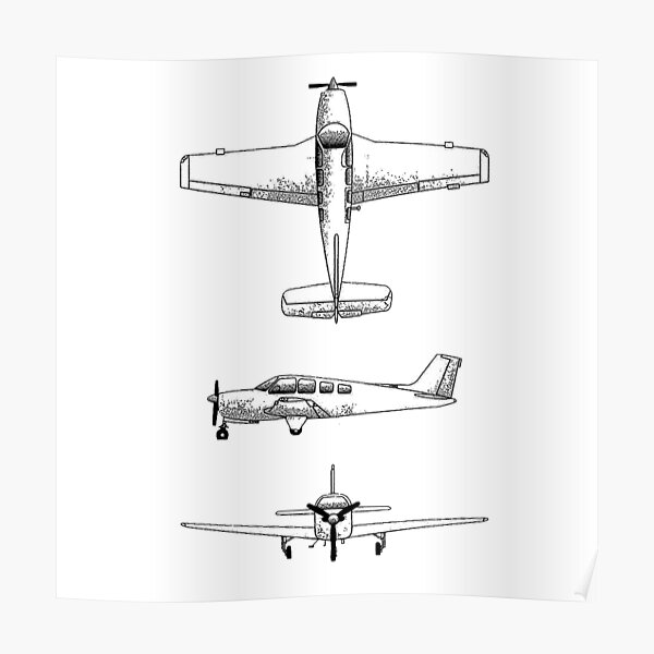 Sticker pack Sketch of Beechcraft Bonanza  Poster