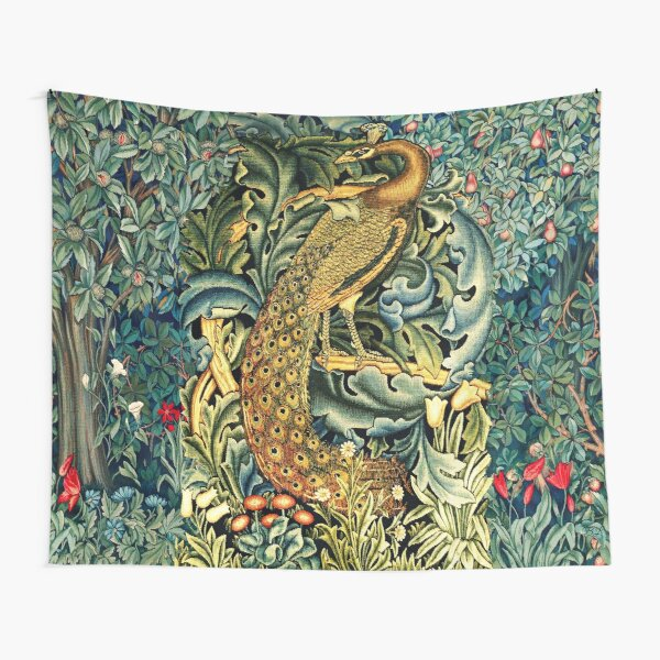 GREENERY, FOREST ANIMALS ,PEACOCK WITH ACANTHUS LEAVES Blue Green Floral  Tapestry
