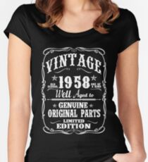 AWESOME BORN IN 1958 Women's Fitted Scoop T-Shirt