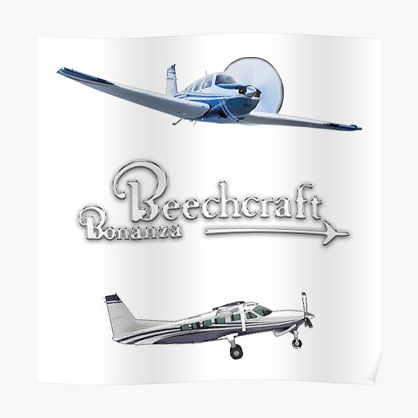 Color Sticker pack Sketch of Beechcraft Bonanza  Poster