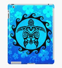 Black Tribal Turtle And Hibiscus Pattern iPad Case/Skin