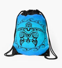 Black Tribal Turtle Drawstring Bag