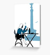 Woman silhouette in Berlin cafe Greeting Card