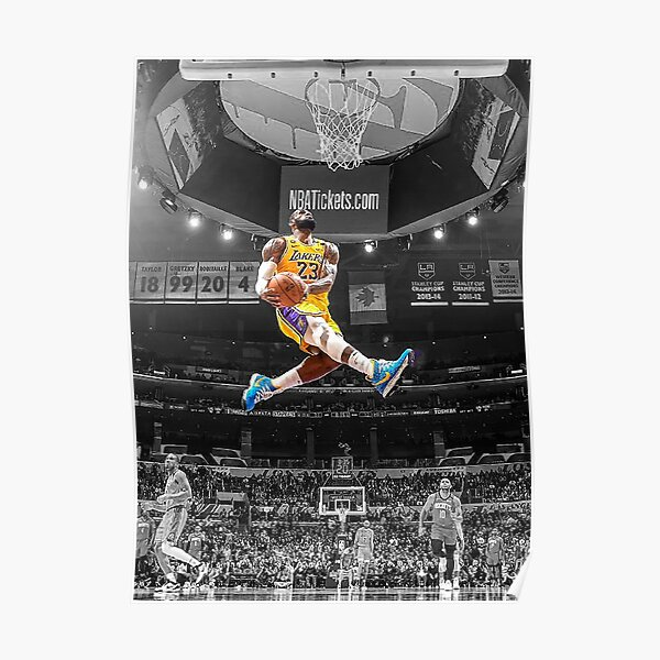 Lebron Flying Dunk James Lakers Poster