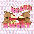 Beary Sweet Cute Bears WIth Yummy Cupcakes With Circles Background by doonidesigns