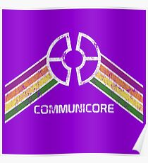 Communicore Logo im Vintage Distressed Stil Poster