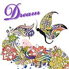 Dream Abstract Flowers And Butterfly Artsy Design by doonidesigns