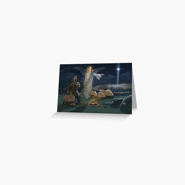 Christmas: Shepherds and the Angel of the Lord Greeting Card