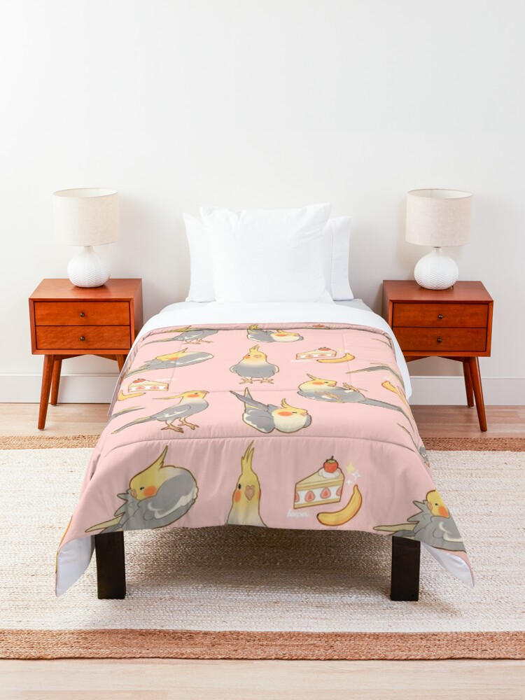 Alternate view of Cute  tiels - grey version Comforter
