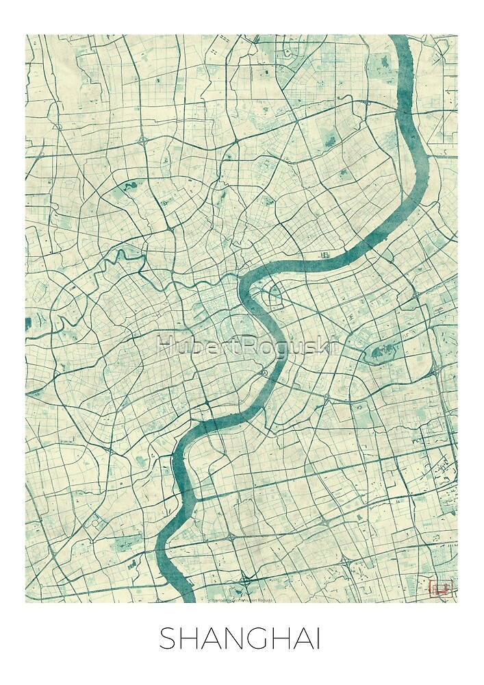 Shanghai Map Blue Vintage by HubertRoguski