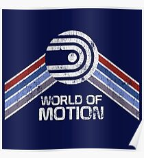 World of Motion Logo im Vintage Distressed Stil Poster