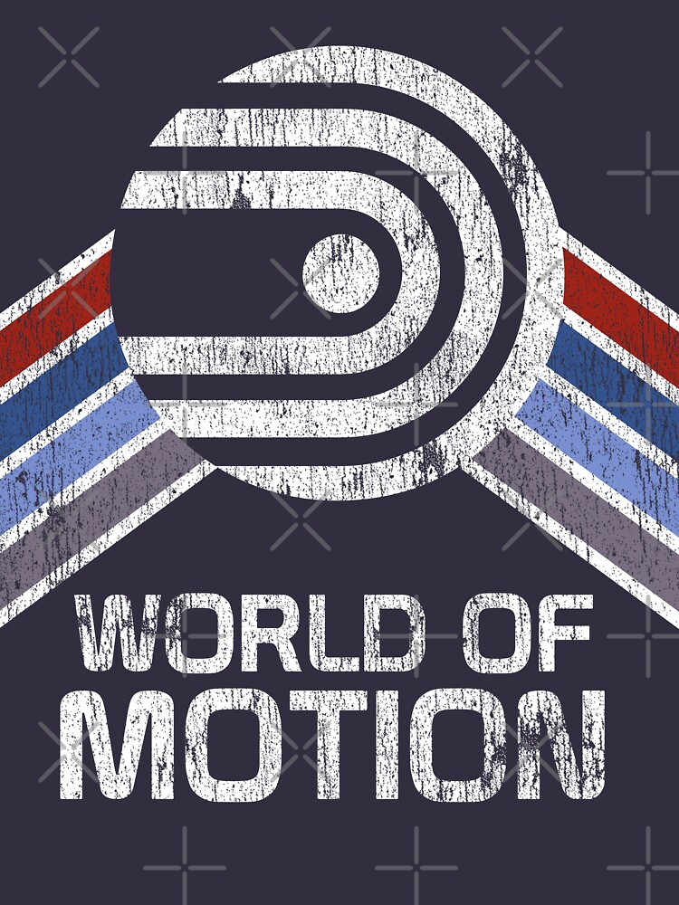 World of Motion Logo im Vintage Distressed Stil von retrocot