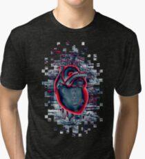 Gamer Heart BLUE CRIMSON Tri-blend T-Shirt