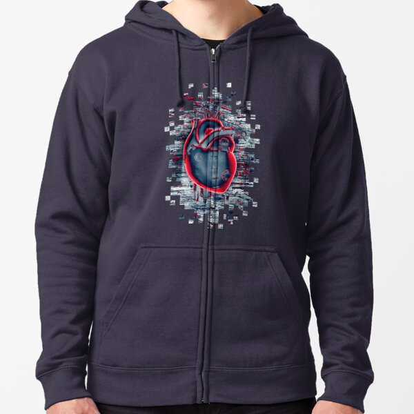 Gamer Heart BLUE CRIMSON Zipped Hoodie