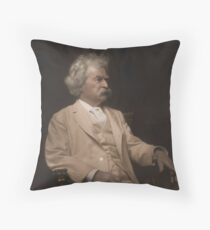 Mark Twain Colorized Throw Pillow