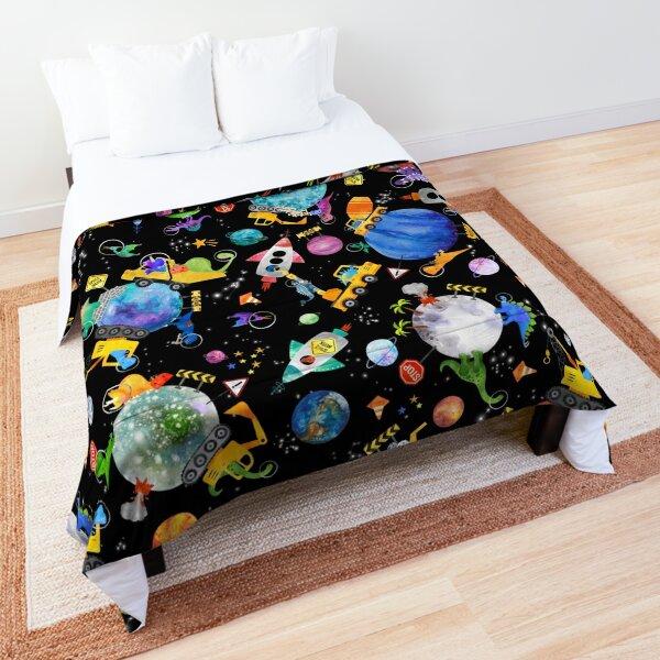 Dinosaur Space Crew Galaxy Construction Comforter