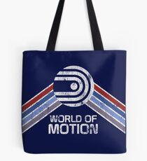 World of Motion Logo im Vintage Distressed Stil Tote Bag