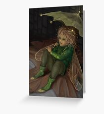 Autumn elf with umbrella Greeting Card