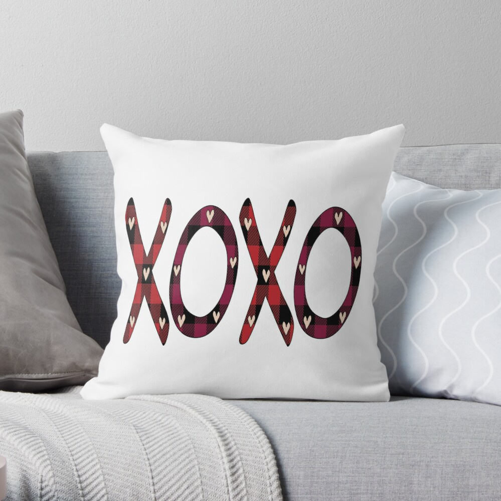 Hugs and Kisses, XOXO, Valentines Day, Gift for her, Anniversary Gift, Engagement Gift Throw Pillow