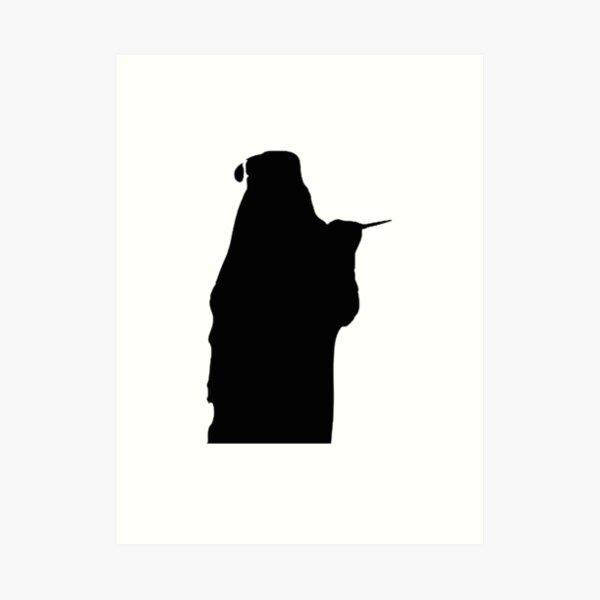 Bearded Wizard Wand Silhouette Art Print