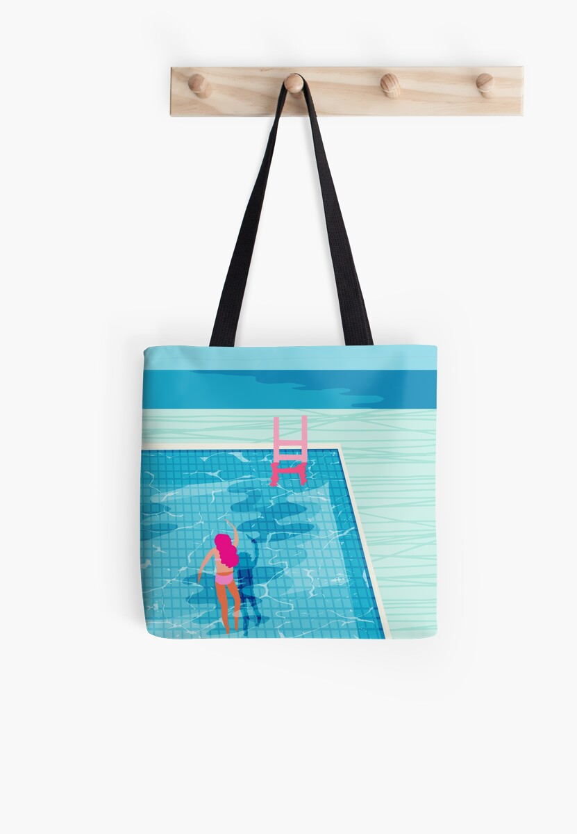 In Deep - abstrakte Memphis Throwback 1980er Jahre Stil Retro Neon Palm Federn köcheln Resort Country Club am Pool Urlaub von wackadesigns